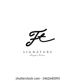 Letter FT Signature Logo Template - Vector