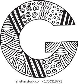 Letter G alphabet symbol - hand drawn, paint, vector illustration