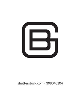 letter G and B monogram square shape logo black