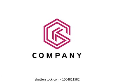 letter G cube and arrow concept, digital logo template, hexagon icon vector ready to use