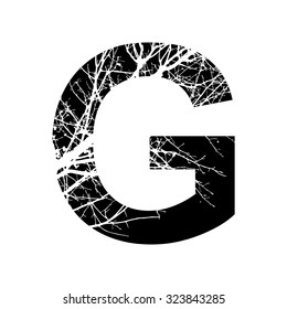 Letter G double exposure with white tree isolated on black background.Vector illustration.Black and white double exposure silhouette lettering combined with photograph of nature. Letters  alphabet.