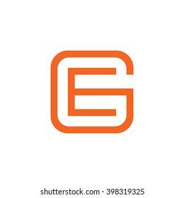 letter G and E monogram square shape logo orange