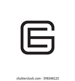 letter G and E monogram square shape logo black