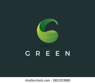 Letter G eco leaves logo icon design template elements. Vector color sign