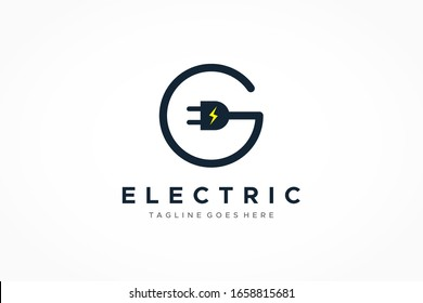 Letter G Electricity Logo. Circular Line Wire and Plug Icon with Flash Symbol inside. Flat Vector Logo Design Template Element.