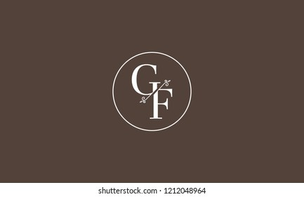 LETTER G AND F FLOWER LOGO WITH CIRCLE FRAME FOR LOGO DESIGN OR ILLUSTRATION USE
