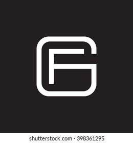 letter G and F monogram square shape logo white black background