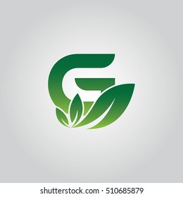 Letter G With Green leaves Logo