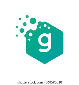 Letter G Hexagon Bubbles Vector