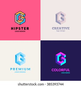 "Letter ""G"" isometric logo design set."