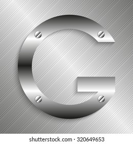 """Letter """"G"""" of the Latin alphabet. Iron letter on a metal background. Vector illustration."""