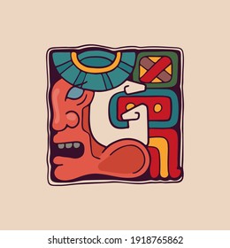 Letter G logo in Aztec, Mayan or Incas style. Native American symbol with conqueror warrior face. Perfect for ethnic labels, sport emblem, tattoo design and tribal identity, etc.