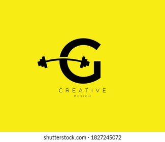 Letter G Logo With barbell | Fitness Gym logo | Vector logo design