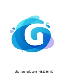 Letter G logo at blue water splash background. Vector ecology elements for posters, t-shirts, ecology presentation or card.