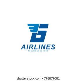 letter g logo design, airline letter logo, g letter blue logo