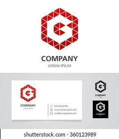 Letter G - Logo Design Element with Business Card - illustration Vector Logotype Template