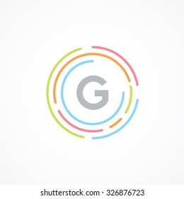 Letter G logo design template,Business,Colorful creative sign,vector icon,lines letters,Typographic elements,modern,company name brand.round,rings,circle