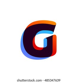 Letter G logo formed by colorful overlay ribbon. Font style, vector element for application icon, t-shirt or card.
