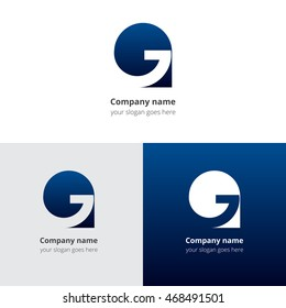 Letter G logo icon flat and vector design template. Trend blue gradient color on white and black background. Symbol G in vector elements..