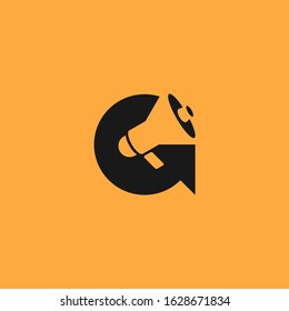 Letter G logo with megaphone as negative space