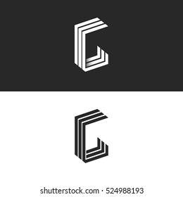 Letter G logo mockup monogram set black and white perspective geometric shape together GGG symbol, 3D technology typography design element