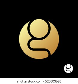 Letter G logo template. Silhouette of a gold praying man in a circle. Golden sticker on a black background. Creative symbol for company identity, advertising, poster, leaflet, banner, web and flyer.