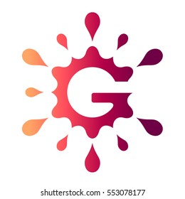 Letter G Logo. Water Splash Letter G Logo Design Template