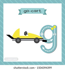 Letter G lowercase cute children colorful transportations ABC alphabet tracing flashcard of Go-Cart for kids learning English vocabulary and handwriting Vector Illustration.