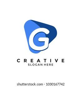 Letter G media play logo design