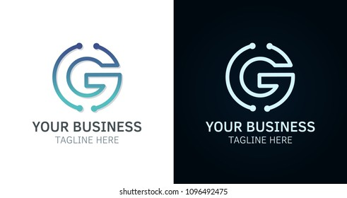 Letter G minimal logo icon design. Vector template graphic elements. Technology, digital interfaces, hardware and engineering concepts. Graphic made of circuits