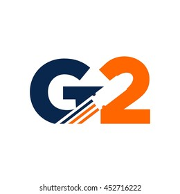 letter G and number 2 logo vector.