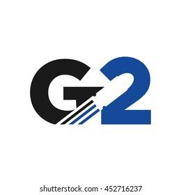 letter G and number 2 logo vector. bullet logo.