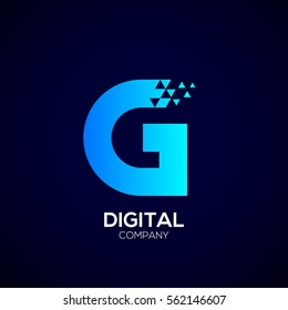 Letter G Pixel logo, Triangle, Blue color, Technology and digital logotype