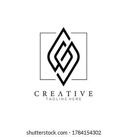 letter G and S square line logo monogram modern creative elegant