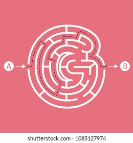 Letter G shape Maze Labyrinth, maze with one way to entrance and one way to exit. Flat design, vector illustration.