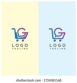letter G shopping cart logo design template [vector]