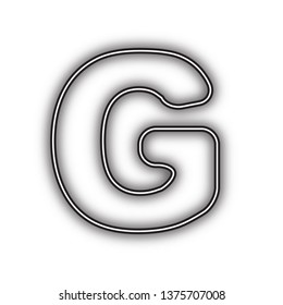 Letter G sign design template element. Vector. Double contour black icon with soft shadow at white background. Isolated.