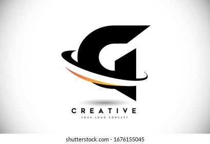 Letter G Swoosh Logo With Creative Curved Swoosh Icon Vector Illustration.