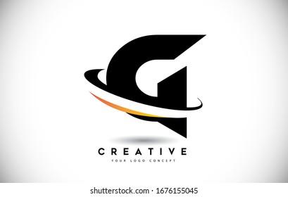 Logo Lettre G Swoosh Avec Illustration Vectorielle D'Icône De Swoosh Courbée Créative.