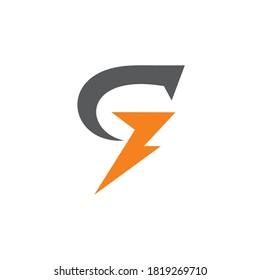 Letter g thunder logo design