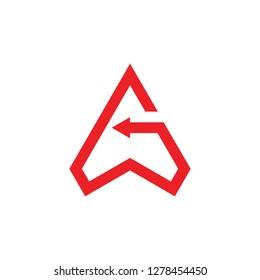 letter g triangle arrows geometric line logo vector