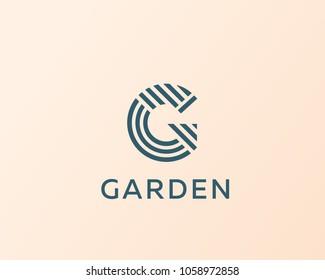 Letter G vector line logo design. Creative minimalism logotype icon symbol.