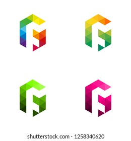 Letter G Vector Origami Logo icon. Initial letter GF. Letter F in white space. Colorful Abstract Design template element logo icon