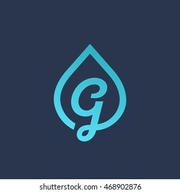 Letter G water drop logo icon design template elements