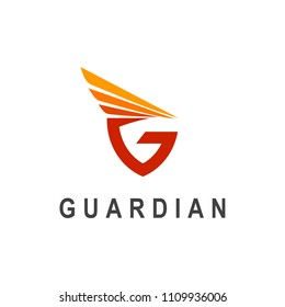 Letter G With Wing Logo Vector, Guardian Logo