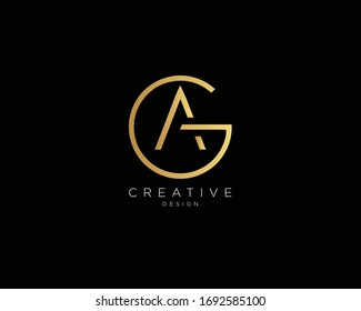 Letter GA AG Logo Design, Creative Minimal GA AG Monogram In Gold Color