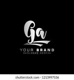 Letter GA Logo. metalic Letter Design Vector Golden Luxury Colors