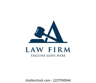 Letter A With Gavel For Law And Attorney Firm Logo Vector Design Template