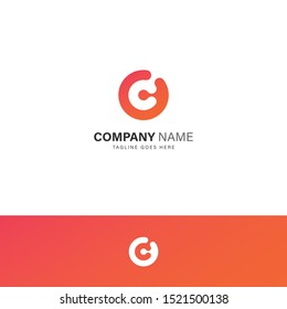 Letter GC CG G C Initial alphabet modern simple logo template vector