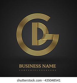 Letter GD or DG linked logo design circle G shape. Elegant golden colored, symbol for your business name or company identity.